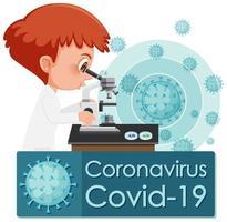 Arzt schaut durch Mikroskop covid-19 Design vektor