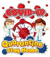 covid-19 mit zwei Ärzten und Viruszellen