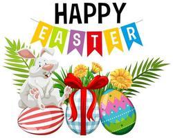 Osterhintergrund mit Kaninchen und gemalten Eiern