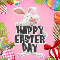 Fröhliches Osterfest mit weißem Kaninchen dahinter vektor