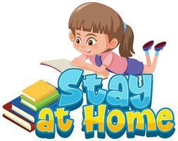 stanna hemma design med flickor läsa böcker vektor