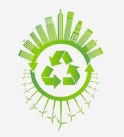 grön återvinningsstad med vindkraftverk