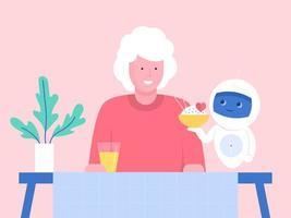 Roboter serviert Abendessen für ältere Frau