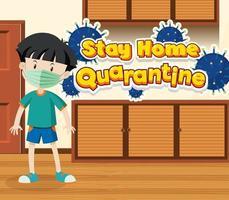 Quarantäne zu Hause bleiben mit einem Jungen zu Hause vektor