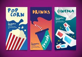 Popcorn Kino Designs Vorlagen Vektor