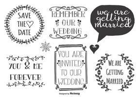 Söt bröllopsklotter etiketter vektor