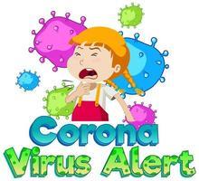 Coronavirus-Alarm mit krankem Mädchen vektor