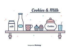Plätzchen und Milch Vektor