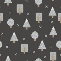 nahtloses Muster der grauen Bäume im skandinavischen Stil