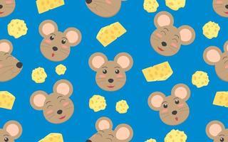 nahtloses Muster von Rattengesicht und Käse vektor