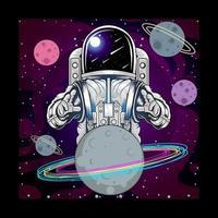 Astronaut und Planet im Weltraum vektor