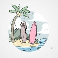 sommar design med surfbrädor på stranden vektor