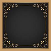 goldener quadratischer dekorativer Blumenrahmen vektor