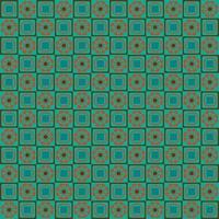 geometrisches nahtloses Muster mit Retroorange und blauem Blumenmuster