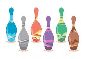 Funky bowling stift vektor uppsättning