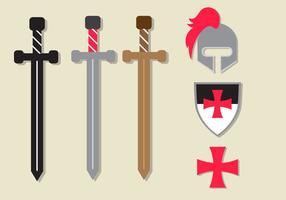 Flach Templar Vektor Set