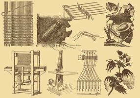 Gewebe-Industrie-Zeichnungen vektor