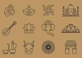 Indien linje ikoner vektor