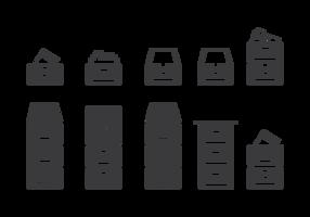 Ikoner för arkivskåp vektor