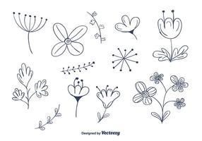Doodle blomma vektor uppsättning