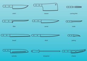 Köksknivar Ikoner vektor
