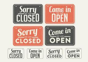 Free Vintage Zeichen offen und geschlossen Vektor