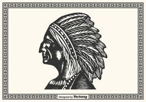 Frei handgezogener amerikanischer ureinwohner