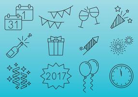Neujahrsfeier Icons