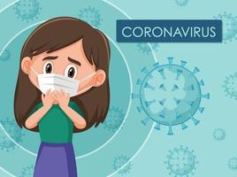 Coronavirus-Diagramm mit Mädchen