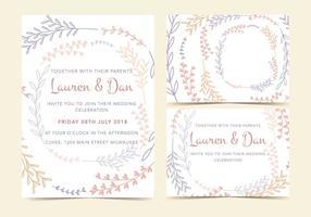 Pastellväxter Vector Invitation