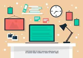 Gratis Flat Business Desk Vector Bakgrund