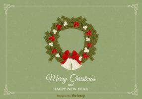 Freie Weihnachtskranz-vektorkarte vektor
