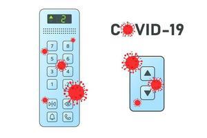 rote Viruszellen auf dem Tastenfeld des Aufzugs