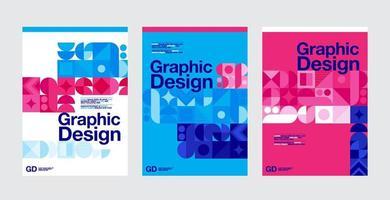 blaue, rosa und weiße Grafikdesign-Layoutvorlagen