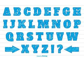 Blau kritzeln syle alphabet gesetzt vektor
