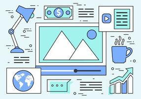 Gratis linjär webbdesign vektor bakgrund