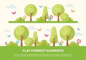 Free Flat Forrest Elemente Vektor Hintergrund
