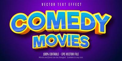 komedi filmer tecknad stil redigerbar text effekt