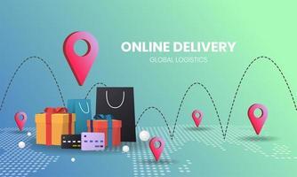 Online-Shopping-Konzept mit Taschen und Ortsmarkierungen