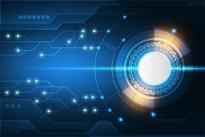 högteknologisk cirkelkretsmönster och gnistrande effekt vektor
