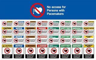 ingen åtkomst för personer med pacemaker skyltuppsättning