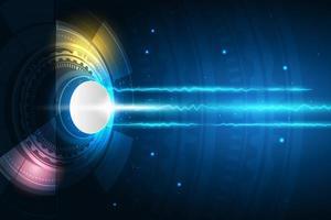 högteknologisk cirkeldesign med ljusstrålar vektor