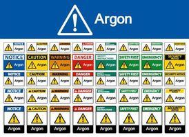 Argon Warnzeichen gesetzt vektor