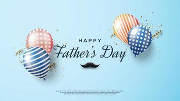 Vatertagsentwurf mit Schnurrbart, Konfetti und Luftballons vektor