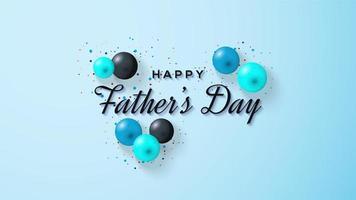 Vatertagsentwurf mit blauen und schwarzen Luftballons vektor