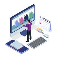 man använder e-bok applikation på datorn vektor