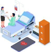 Der Patient im Krankenhaus kommuniziert mit der Krankenschwester vektor