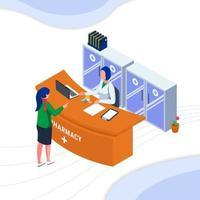 kvinna som köper medicin i apotek