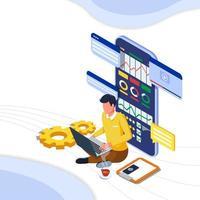 Mann auf Laptop arbeitet an digitaler Marketingstrategie vektor