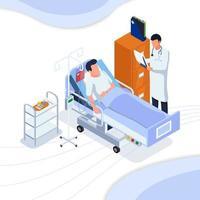 Arzt prüft Patienteninformationen vektor